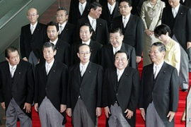 Fukuda and his cabinet were sworn-in at a ceremony in Tokyo's imperial palace [Reuters]