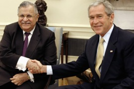 Talabani, left, met Bush at the White House on Tuesday [Reuters]