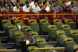 Buddhist monks attended the UN session discussing Mynamar in New York [AFP]