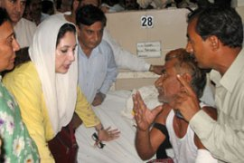 Bhutto spent about 15 minutes at the hospital, visiting survivors of last week's blasts[AFP]