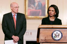 Rice, right, and Paulson make the announcement on sanctions [Reuters]