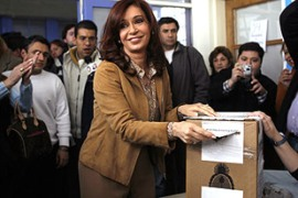 Cristina Fernandez de Kirchner appears set to become Argentina's first elected female president [Reuters]