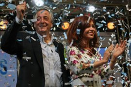 Cristina Fernandez de Kirchner, right will take over the presidency from her husband [AFP]