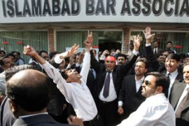 Hundreds of lawyers have protested against Musharraf's emergency rule [AFP]