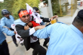 Lawyers continued to battle policemen in citiesacross Pakistan on Wednesday [AFP]