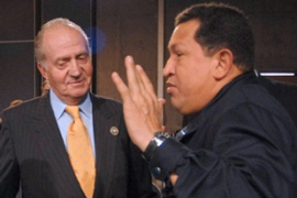 "Chavez, right, said the king ""acted like an angry bull"", adding: ""I'm no bullfighter - but ole!"" [AFP]"