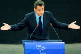 Sarkozy reaffirmed his commitment to economic reform at a speech in Strasbourg [EPA]