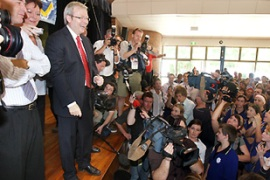 Rudd is widely tipped for a landslide win in the November 24 election [Reuters]
