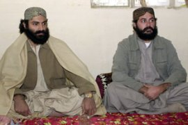 Balash Khan Marri, right, was believed to have been hiding in Afghanistan [AFP]