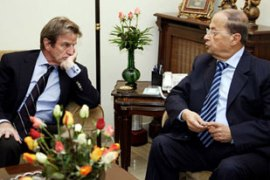 French Foreign Minister Bernard Kouchner, left, met Aoun on Thursday in a bid for a last-minute deal [AFP]