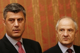 Ethnic Albanian leaders Thaci, left, and Sedjiu want Kosovo to declare indpendence [AFP]