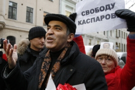 "Kasparov, a staunch critic of the Kremlin, has dismissed the elections as a ""farce""[AFP]"