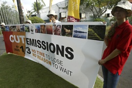 Environmental activists are pressing for urgent action at the Bali meeting [EPA]