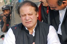 Sharif had threatened to boycott the electionsbut still lodged nomination papers [AFP]