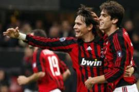 Inzaghi, centre, scored in the 70th minute to become the top all-time scorer in European play [AFP]