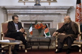 Prodi, whose country has about 2,400 troops serving in Afghanistan, met Karzai on Sunday [AFP]