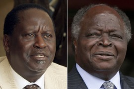 All but one opinion poll since September have put Odinga, left, ahead of Kibaki [Reuters]