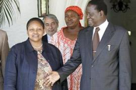 After meeting Frazer on Monday, Odinga, right, said a 'mediation process' was about to begin [Reuters]