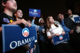 Obama swept four weekend contests in the states of Maine, Louisiana, Nebraska and Washington [AFP]