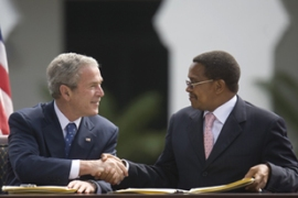 Bush will also discuss how the US and Tanzania can deal with security threats in the region [AFP]