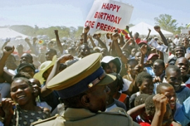Thousands of people attended the rallyin a southern Zimbabwean town [AFP]