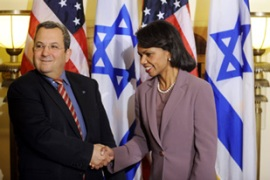 Rice met Israeli and Palestinian leaders to encourage them to reume talks [AFP]