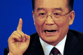 "Chinese premier Wen Jiabao has accused protesters of trying to ""sabotage"" the Beijing Olympics [AFP]"