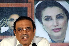 Zardari, who took over the PPP following his wife's death, could find himself forced from office [AFP]
