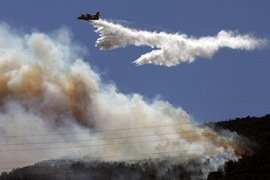 Aircraft were used to douse the flames before it reached the city [AFP]