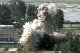 North Korea publicly demolished a cooling tower at the Yongbyon nuclear complex in June [AFP]