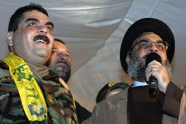 "Hassan Nasrallah, right, hailed the prisoner exchange as a ""victory"" for Lebanon [AFP]"