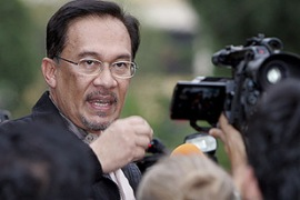 Anwar said the sodomy charge against him was a government conspiracy [EPA]