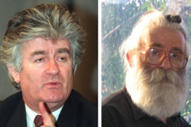 Karadzic pictured, left, in 1994; and, right, shortly before his capture on Monday [AFP]