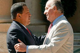 Chavez said he wanted to hug the Spanish king in his weekly television show [EPA]