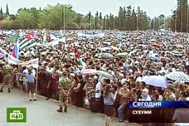 Russian state TV aired live images of tens of thousands of residents[AFP]