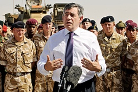 Brown announced that Britain would buy up to 700 upgraded armoured vehicles to protect troops [AFP]