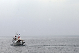 Activists sail out of the southern Cypriot port of Larnaca on their way to the Gaza Strip [AFP]