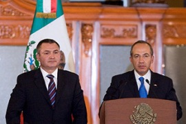 Calderon, right, is facing pressure to stop the wave of violence [EPA]