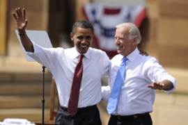 Joseph Biden, right, offers Obama foreign policy experience [AFP]