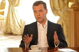Medvedev vowed economic, humanitarian and military support for the regions [AFP]