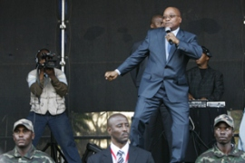 Zuma led the crowd in singing Bring Me My Machine Gun after leaving court[AFP]