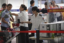 The authorities have tightened security at the airport in Xinjiang's capital Urumqi [AFP]
