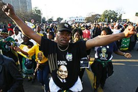 More than 1,000 of Zuma's supporters demonstrated outside the high court [AFP ]