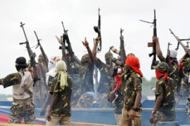 "Mend declared an ""oil war"" against oil firms in the Niger Delta earlier this week [AFP]"