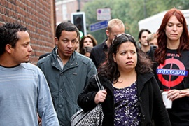 Family members of de Menezes arrive at the inquest in London [EPA]