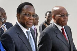 Motlanthe, left, is seen as a strong supporter of Jacob Zuma, the party leader [AFP]