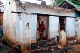 Thousands of people have lost their homes in the violence in Orissa [EPA]