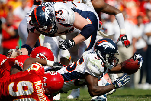 Selvin Young of the Denver Broncos battles for every inch against the Kansas City Chiefs [GALLO/GETTY]