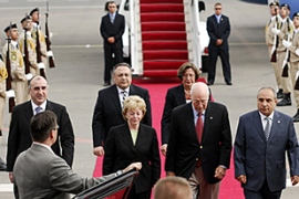 Cheney, centre right, arrived in Azerbaijan ahead of visits to Georgia and Ukraine [AFP]