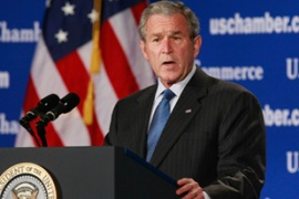 Bush said the spending would defend thefree market system[AFP]